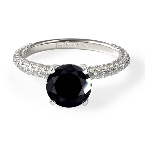 Black Diamond Pavé Engagement Ring