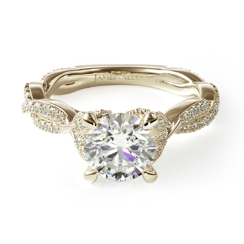 14K Yellow Gold Twisted Pave Leaf Engagement Ring