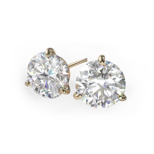 14K Yellow Gold Four Prong Round Brilliant Diamond Stud Earrings