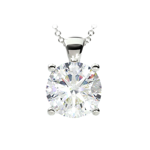 14K White Gold Double Prong Diamond Pendant