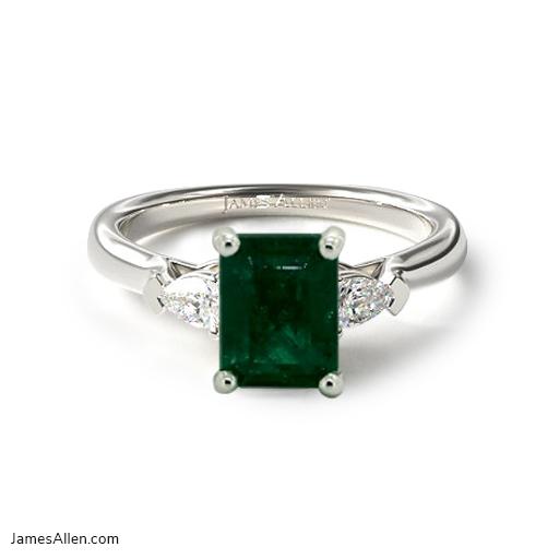 Emerald Three-Stone Engagement Ring
