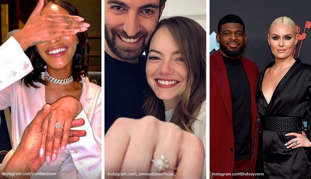 Celebrity engagement rings: Jourdan Dunn, Emma Stone, and Lindsey Vonn