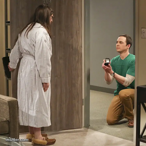 "Sheldon and Amy from ""Big Bang Theory"" engagement proposal"