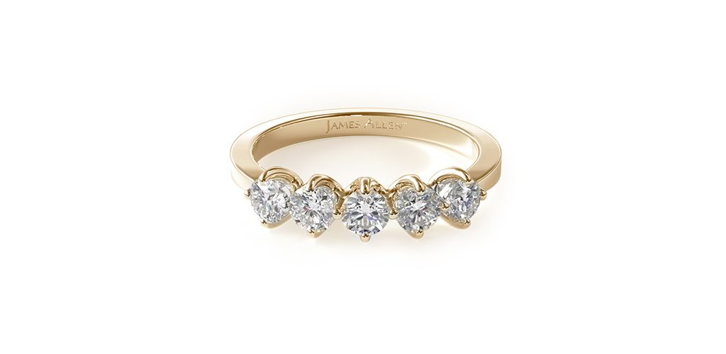 14K Yellow Gold Five Stone Diamond Wedding Ring