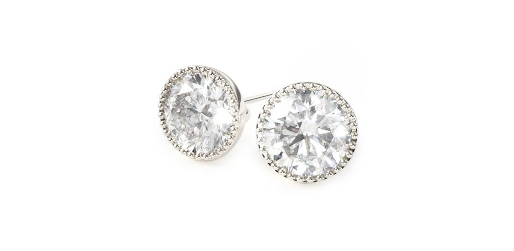 Milgrain Bezel Diamond Stud Earrings