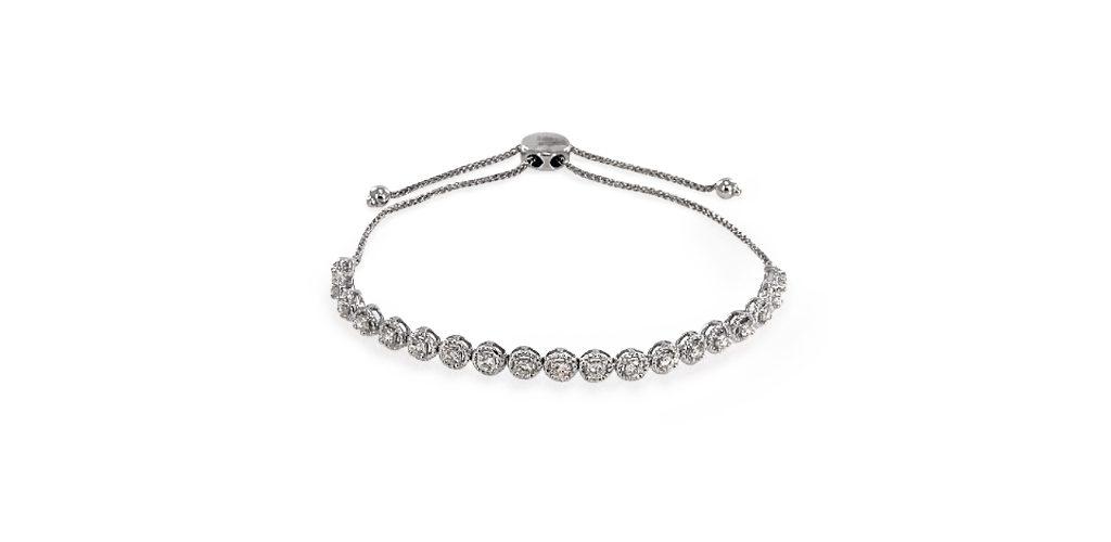 14K White Gold Bolo Diamond Bracelet