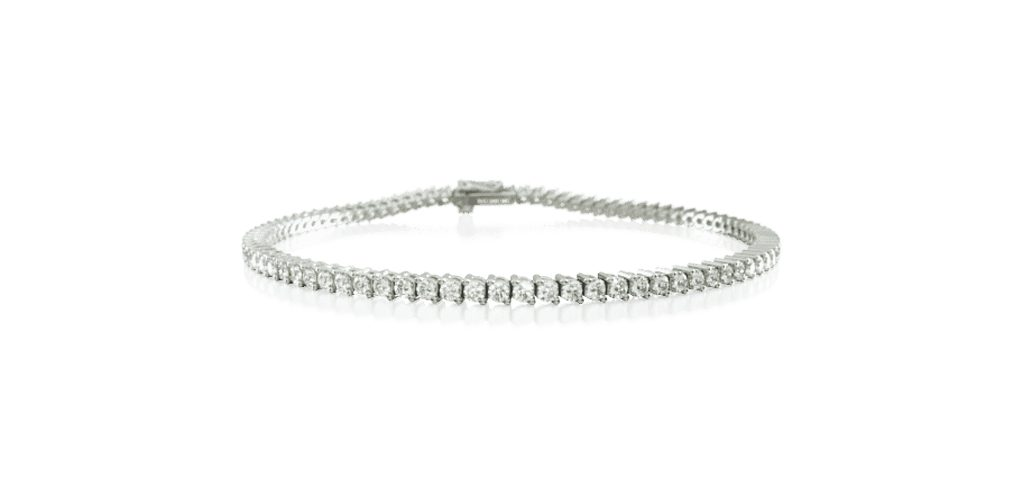 14K White Gold Two Prong Diamond Tennis Bracelet