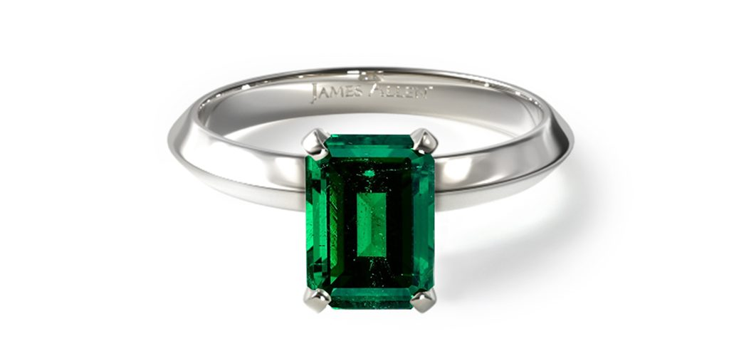 white gold emerald-cut emerald knife-edge gemstone engagement ring