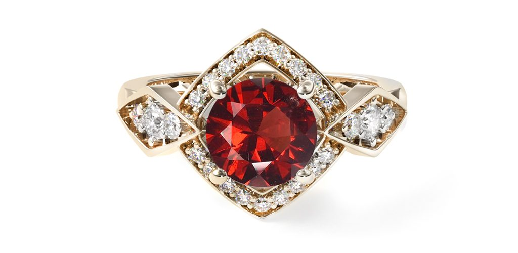 Red Ruby 14K Gold Art Deco Geometric Diamond Engagement Ring