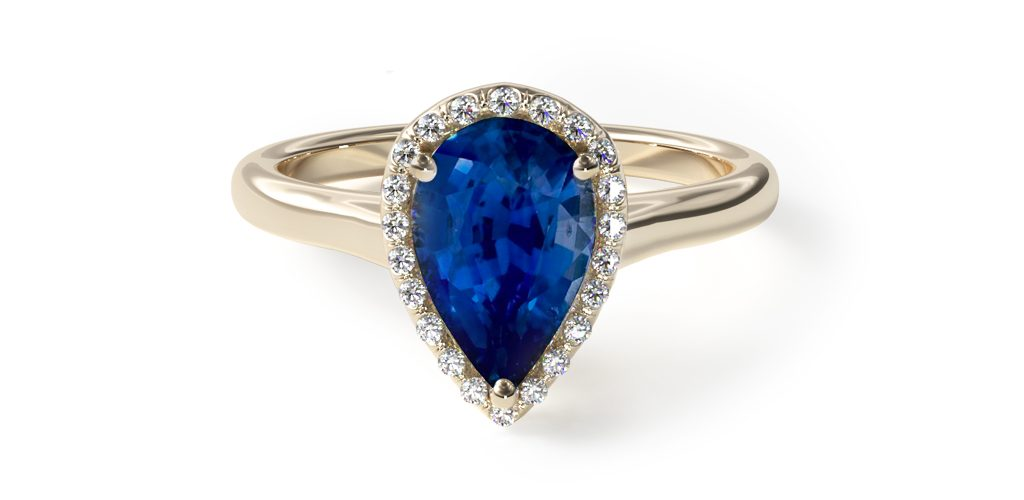 yellow gold blue sapphire pear-cut pavé halo gemstone engagement ring