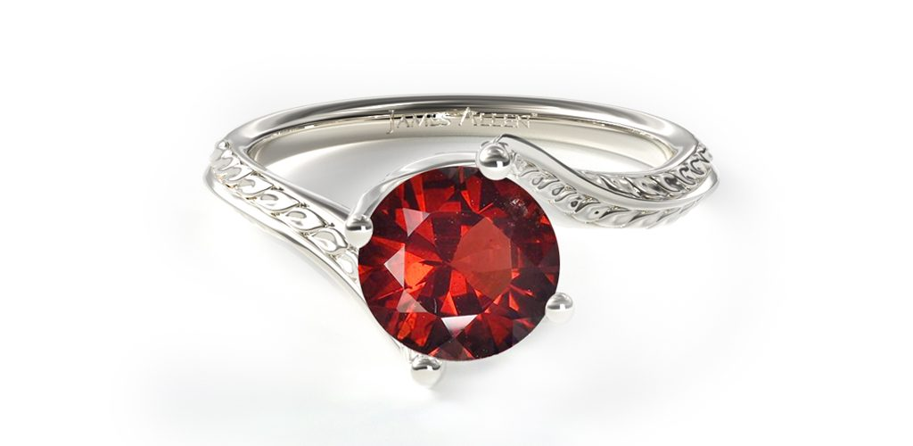 white gold ruby etched gemstone engagement ring