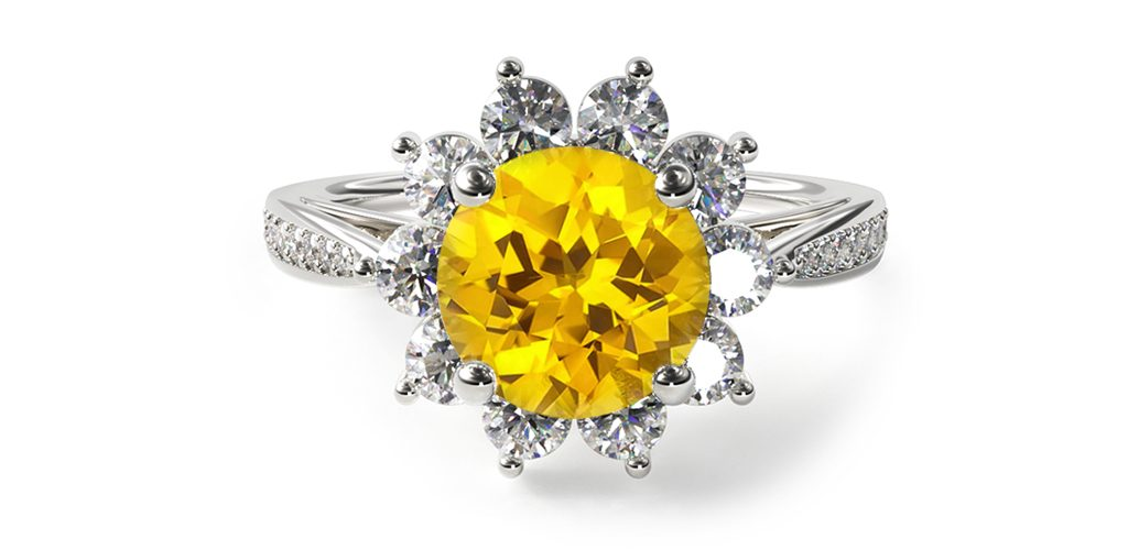 white gold yellow sapphire starburst halo gemstone engagement ring