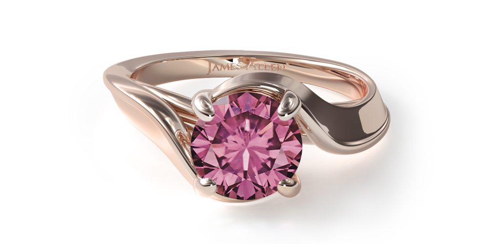 1.06 Carat Round Natural Pink Sapphire Bypass Engagement Ring