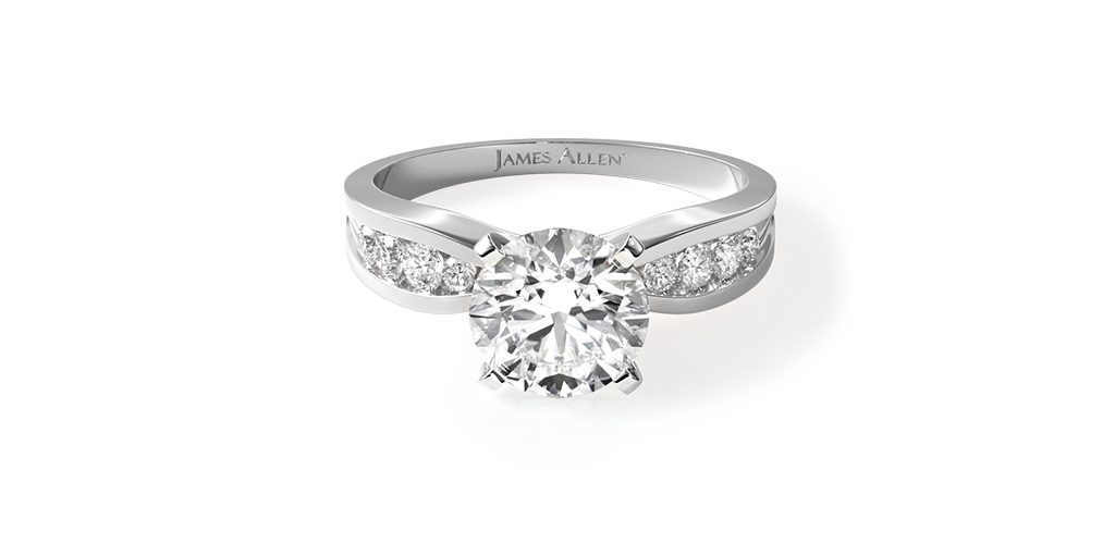 White Gold Bow-Tie Channel Set Engagement Ring