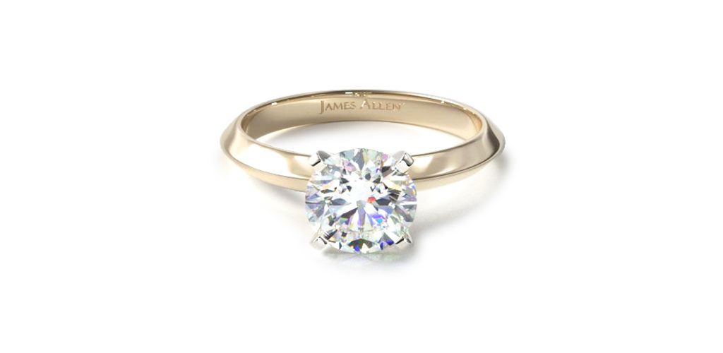 Affordable engagement rings: yellow gold knife-edge solitaire engagement ring