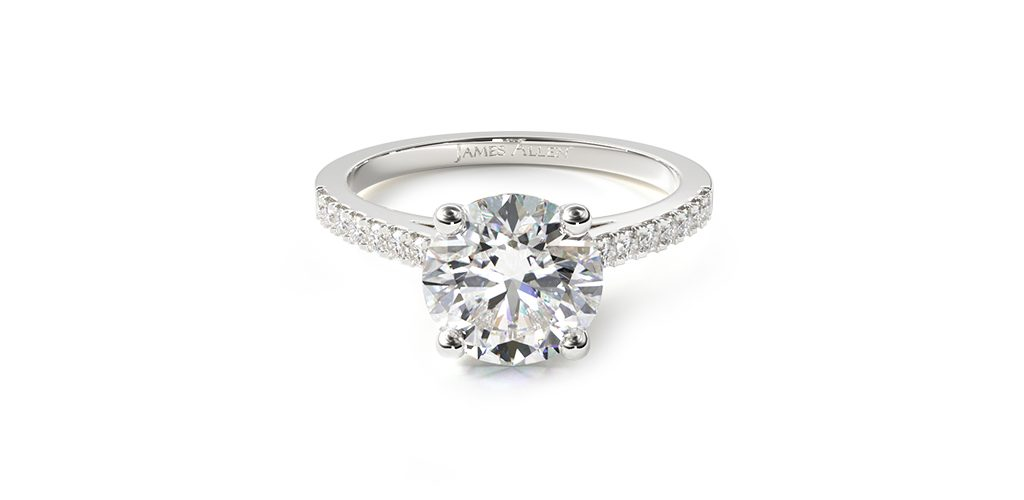 White Gold Petite Pavé Cathedral Engagement Ring