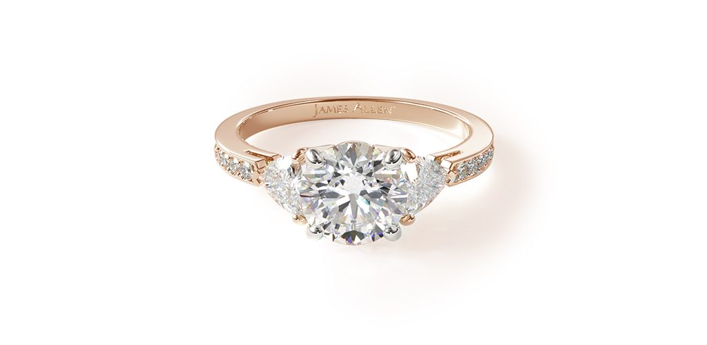 Rose Gold Three-Stone & Pavé Engagement Ring