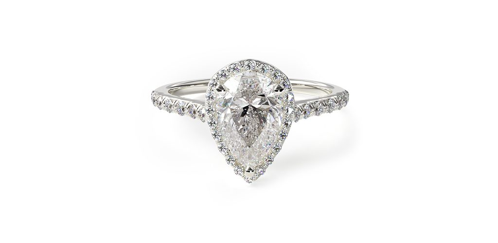 Affordable engagement rings: pavé halo and shank engagement ring with a pear-cut center diamond