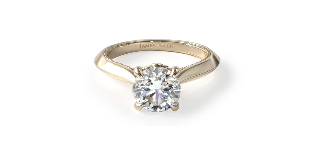 Yellow Gold Tapered Milgrain Solitaire Engagement Ring