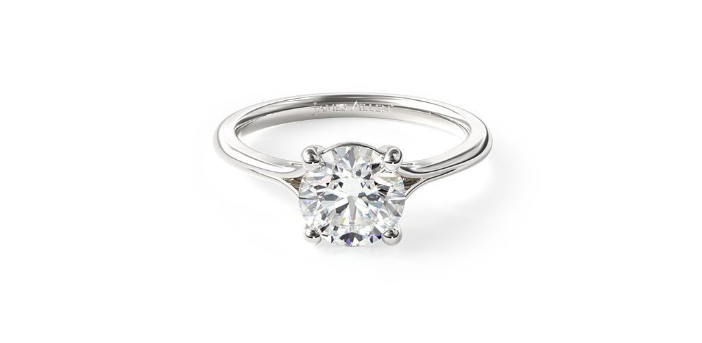 Affordable engagement rings: a white gold split-shank solitaire engagement ring