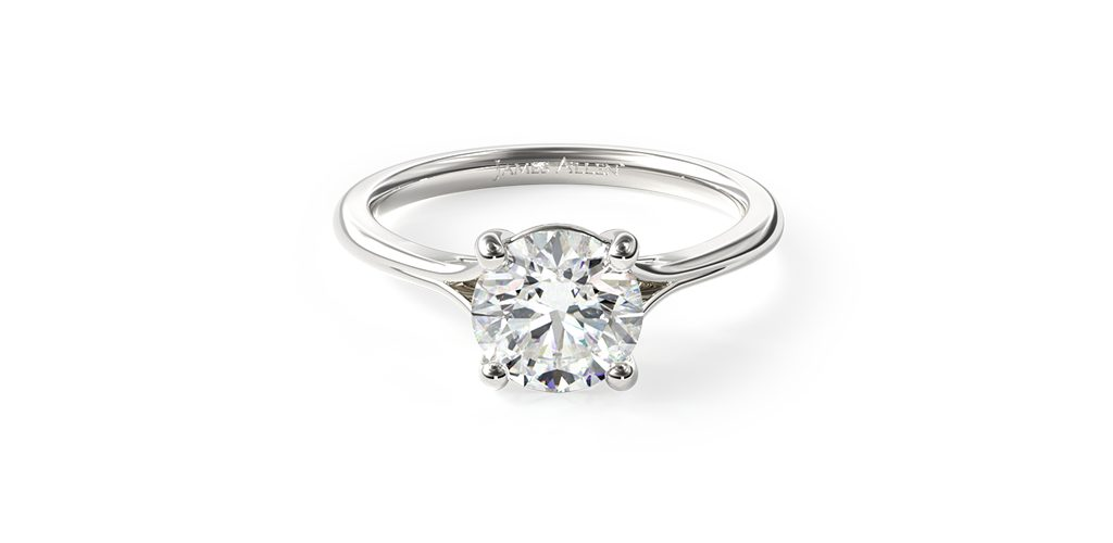 White Gold Split Shank Solitaire Engagement Ring