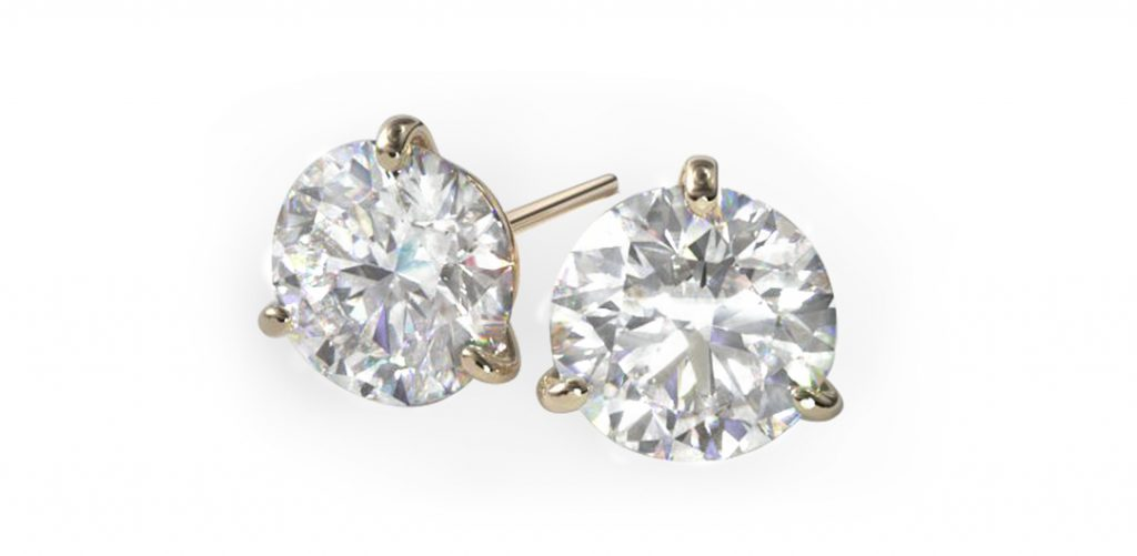 lab-grown diamonds vs. earth-created diamonds: yellow gold diamond stud earrings