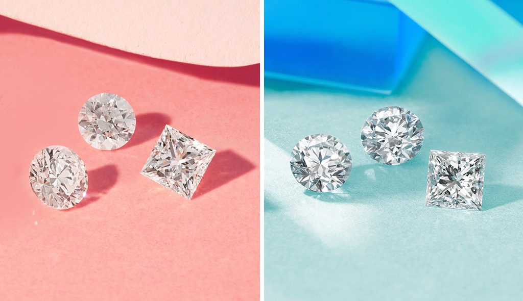lab-grown diamonds vs. earth-created diamonds set side-by-side on blue and pink backgrounds