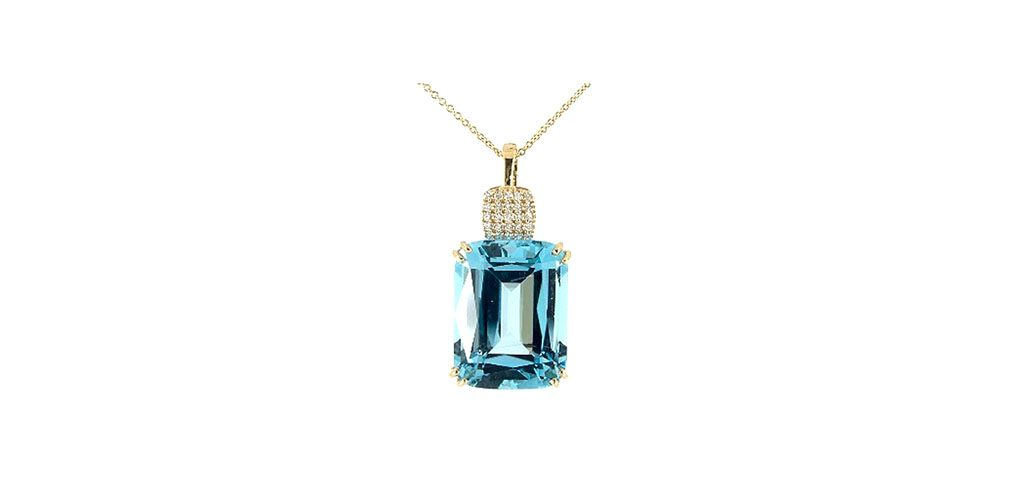 Emerald-Shaped Blue Topaz & Pavė Diamond Necklace