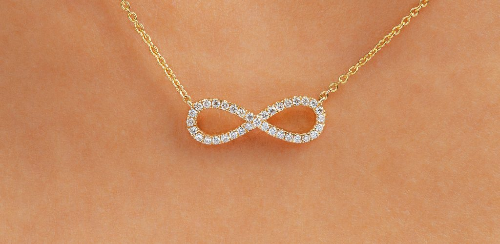 14K Yellow Gold Infinity Pave Necklace