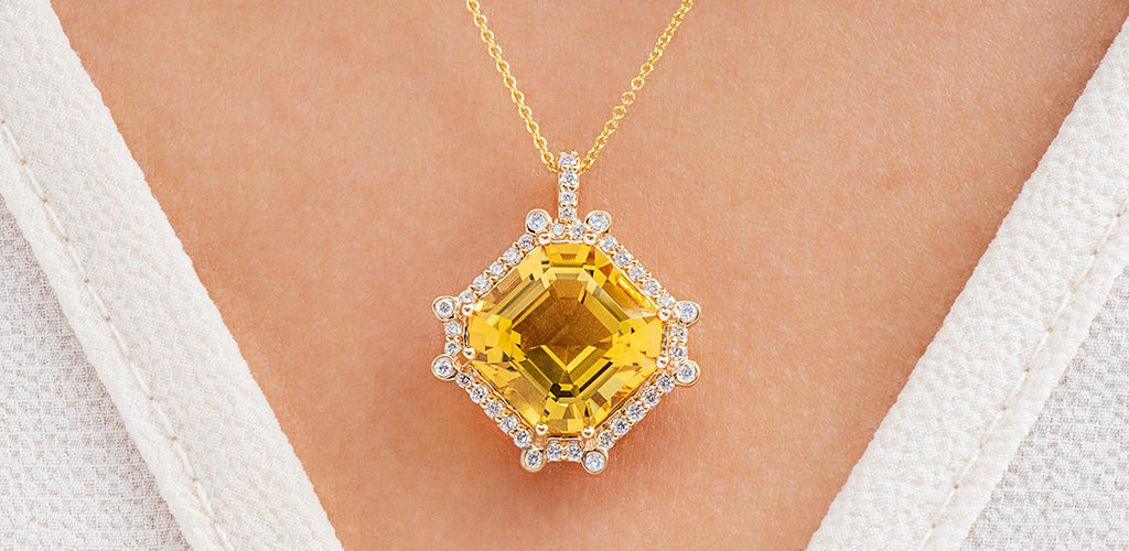 18K Yellow Gold Octagon Citrine And Diamond Necklace