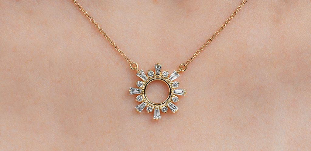 Trending Gold Necklace Styles of 2020: Diamond Sunburst Yellow Gold Necklace