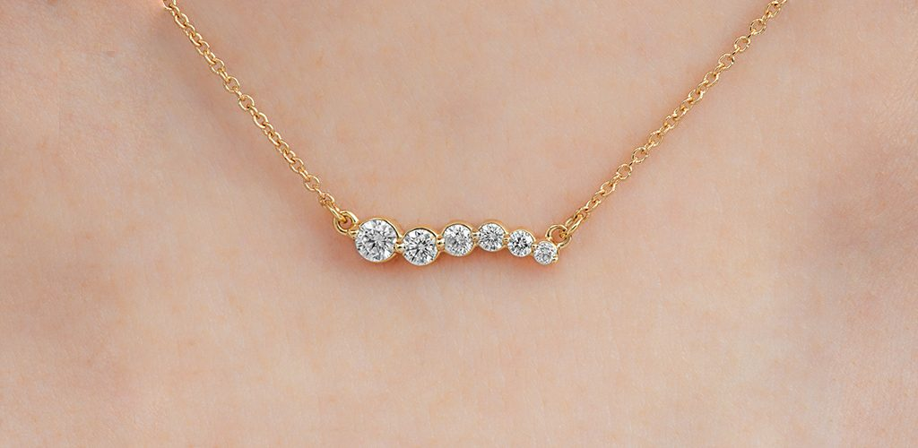 Trending Gold Necklace Styles of 2020: Bezel-Set Diamond Yellow Gold Necklace