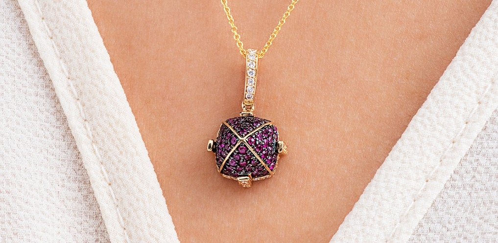 18K Yellow Gold Ruby Pave Sugarloaf Necklace