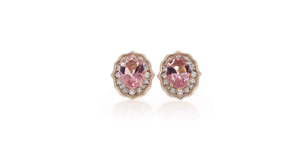 14K Rose Gold Art Deco Inspired Pink Topaz And Diamond Earrings