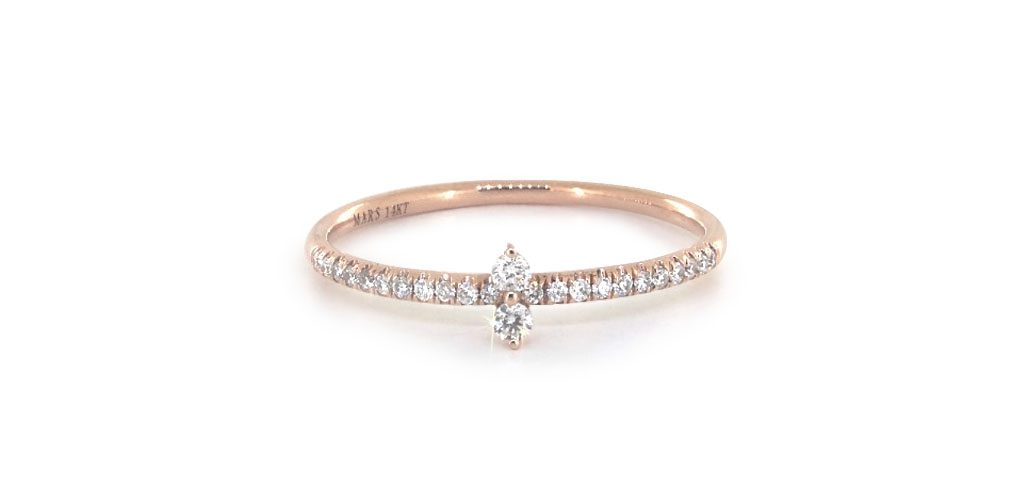Rose Gold North South Diamond Ring