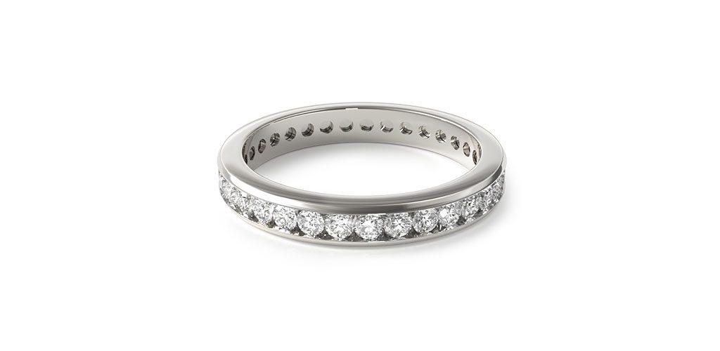 14K White Gold Ladies 1.00ctw* Channel Set Diamond Eternity Ring