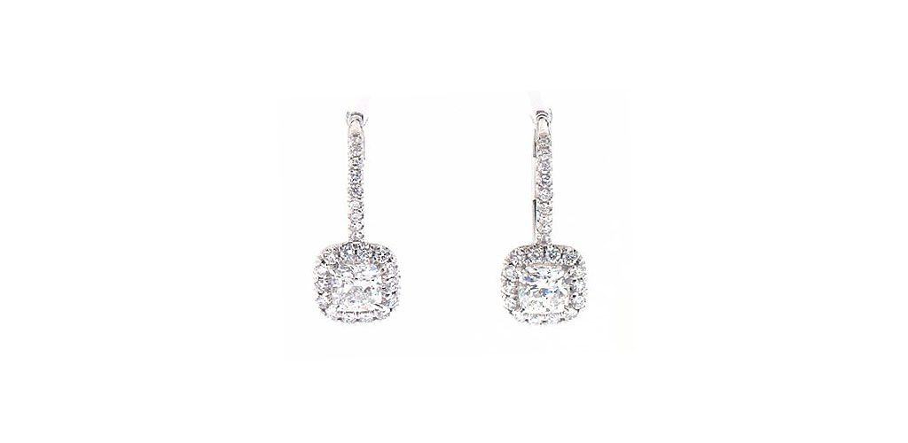 White Gold Halo Cushion Diamond Leverback Earrings