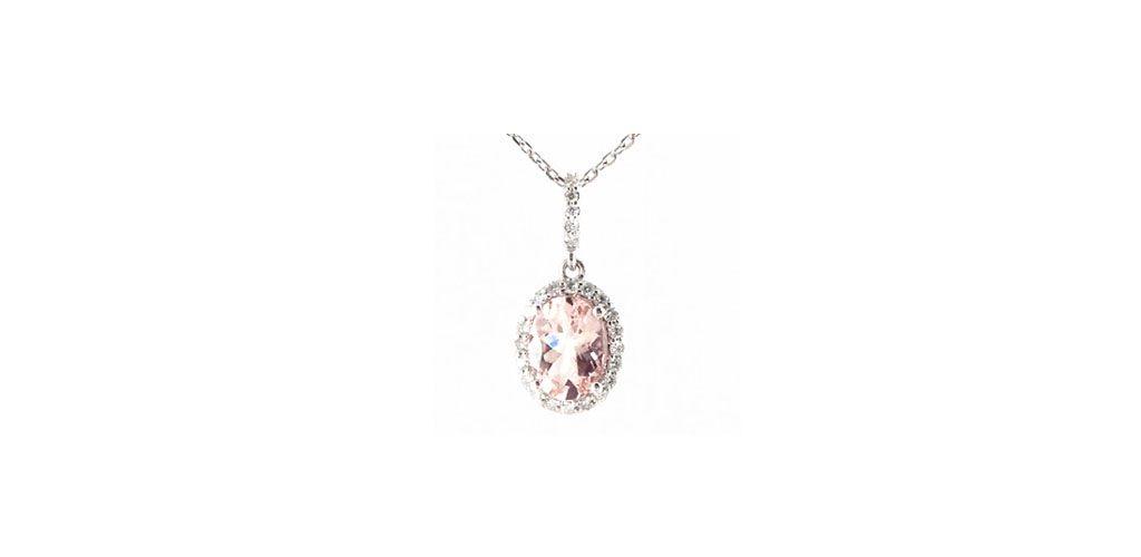 White Gold Morganite & Diamond Halo Necklace