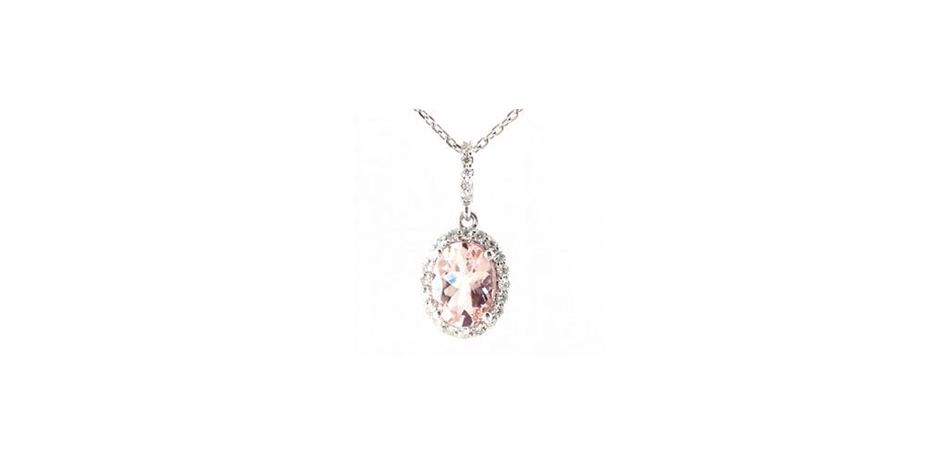 14K White Gold Morganite And Diamond Halo Necklace