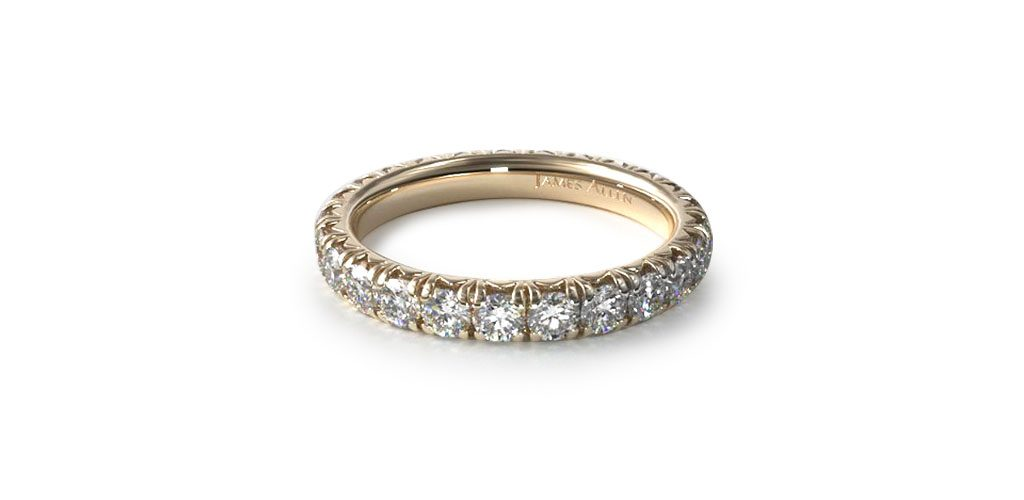 14K Yellow Gold Pave Set Diamond Eternity Ring