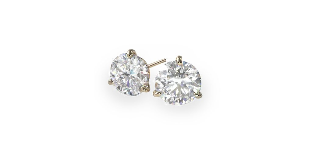 Yellow Gold Three Prong Martini Stud Earrings