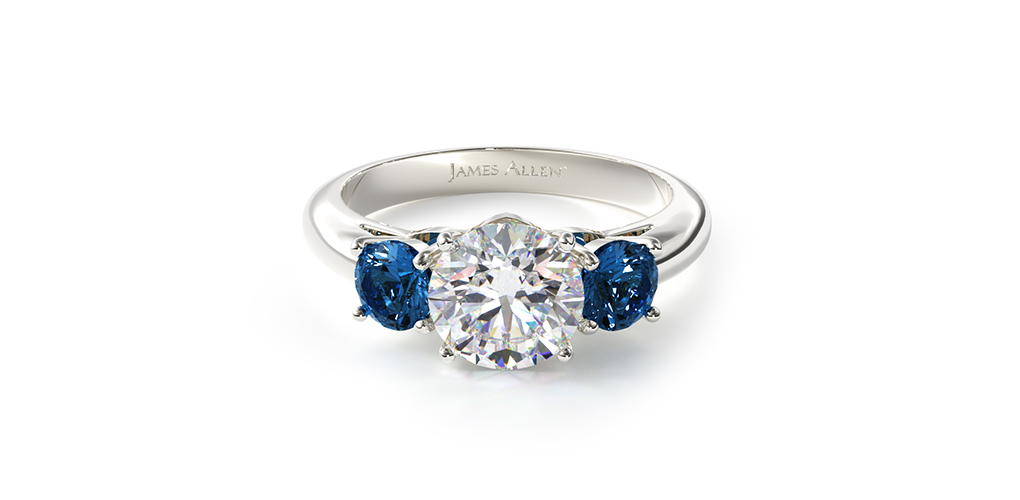 Three Stone Blue Sapphire Engagement Ring