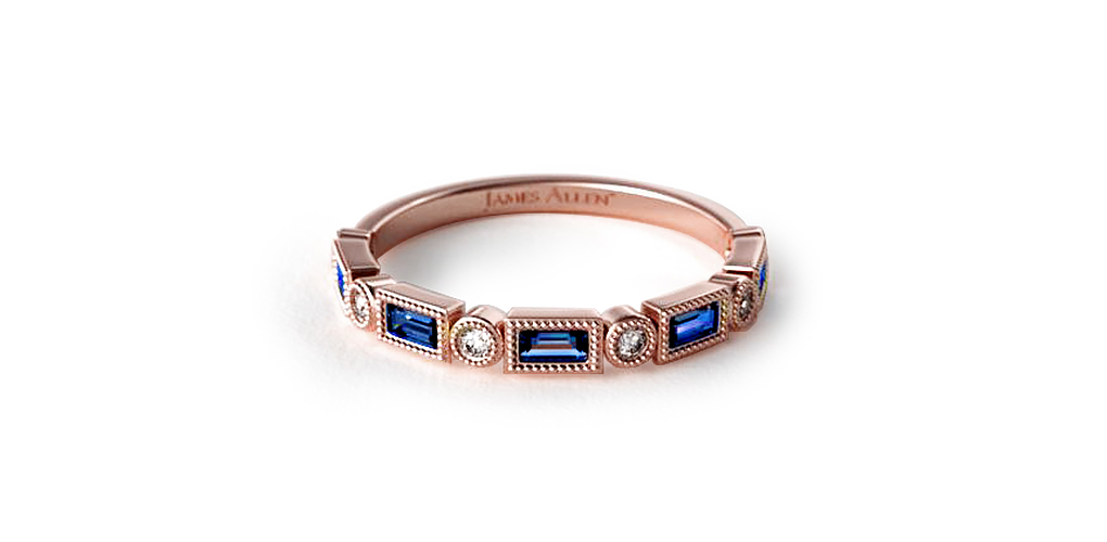 Rose Gold Diamond & Sapphire Baguette Milgrain Ring