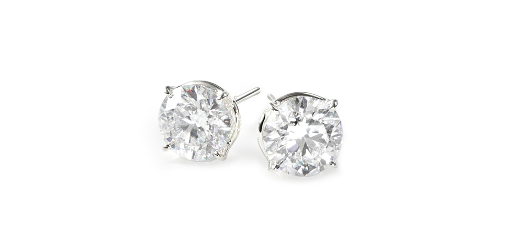 14K White Gold Four Prong Round Brilliant Diamond Stud Earrings