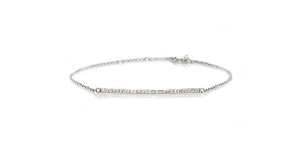 14K White Gold Diamond Bar Bracelet
