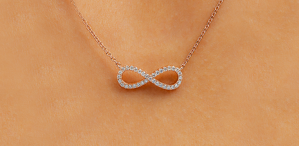 Rose Gold Infinity Pavé Necklace - Minimalist Jewelry