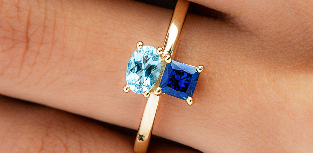 14K Yellow Gold Blue Sapphire And Aquamarine Asymmetrical Ring