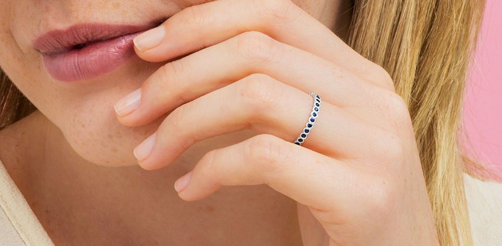 White Gold Milgrain Bezel Sapphire Ring