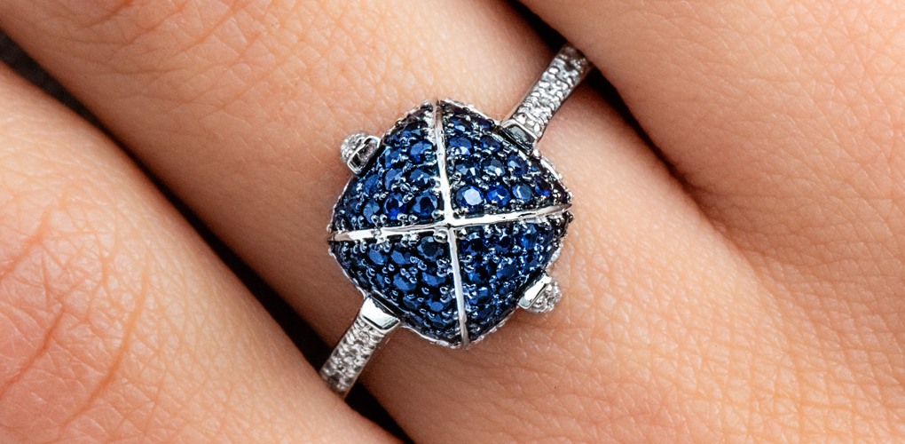 White Gold Sapphire Pave՛ Sugarloaf Ring