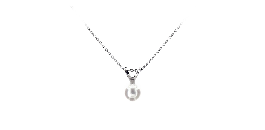 14K White Gold Cultured Freshwater Pearl Birthstone Necklace